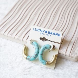 Lucky Brand Gold Tone Half Turquoise Hoop Earrings